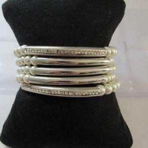 Chico's faux pearl/rhinestone slip on Bracelet
